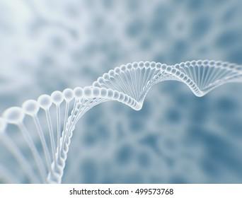DNA string high resolution 3d render science background.
