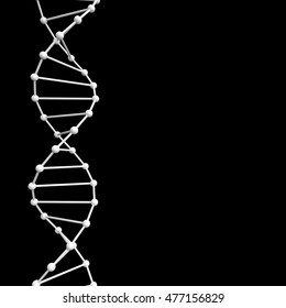 Dna structure abstract background, 3D render illustration