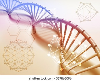 DNA structure abstract concept with Chemical polygon.
