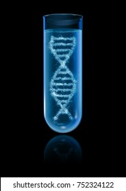 DNA test tube / 3D illustration of DNA double helix forming inside glass test tube
