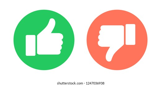 Do and Don't symbols. Thumbs up and thumbs down circle emblems.