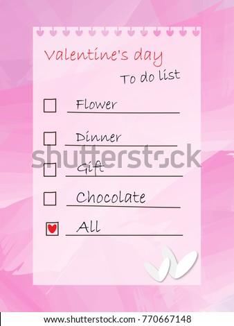 Do List Valentines Day Stock Illustration 770667148 Shutterstock