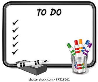 To Do List, Whiteboard, marker pens, eraser. Copy space to add your own text, notes or drawings for school, home, business and office projects.