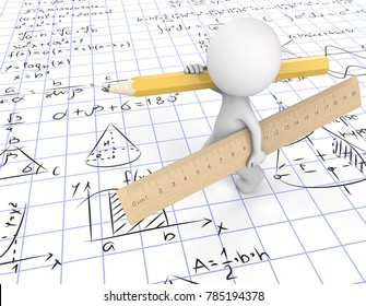 Do the Math. Dude 3D character carrying large wooden Ruler and yellow Pencil. Walking on gridpaper with Math symbols.  3d Render.