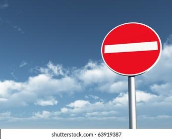 do not enter - roadsign under cloudy blue sky - 3d illustration