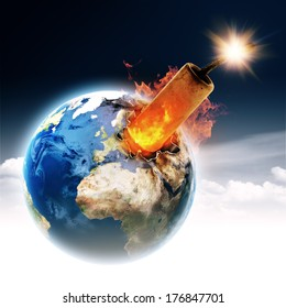 Do not make it a bomb! Earth globe with burning TNT block