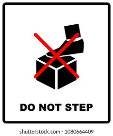 DO NOT STEP packaging symbol on a corrugated cardboard background. For use on cardboard boxes, packages and parcels.  illustration