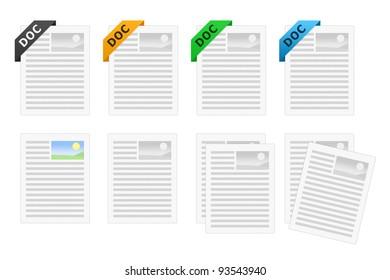 DOC document icon set