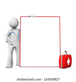 Doc with stethoscope, case and signboard on the white background.