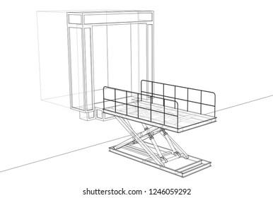 Dock Leveler Concept Vector Rendering 3 D Stock Vector Royalty Free