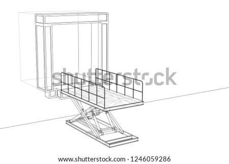 Dock Leveler Concept 3 D Illustration Wireframe Stock Illustration