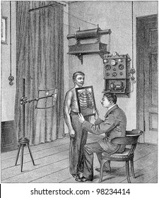 Doctor analyzing an x-ray / vintage illustration from Meyers Konversations-Lexikon 1897