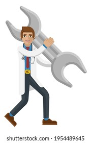 A doctor cartoon character mascot man holding a big hammer spanner wrench concept