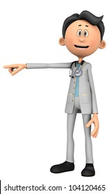 doctor cartoon pointing over there