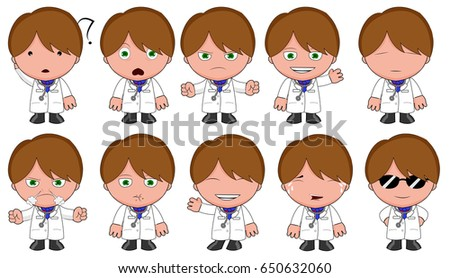 Doctor character with 10 different emotions