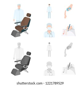 Doctor in a face mask, dentist, medical staff, a blood test for sugar. Medicineset collection icons in cartoon,monochrome style bitmap symbol stock illustration web.