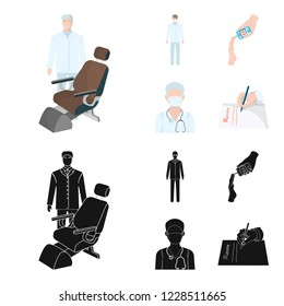 Doctor in a face mask, dentist, medical staff, a blood test for sugar. Medicineset collection icons in cartoon,black style bitmap symbol stock illustration web.