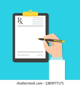 Doctor filling up medical prescription. Clipart image in flat style