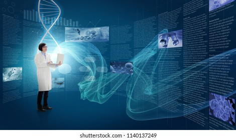 doctor holding a laptop in front of a video wall, 3d illustration