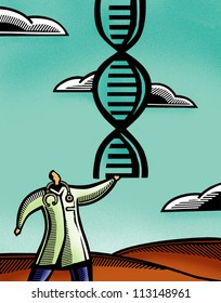 Doctor holding a pair of DNA double helix