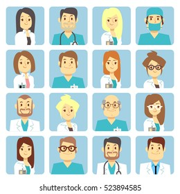 Doctor and nurse flat avatars. Person character profession surgeon illustration