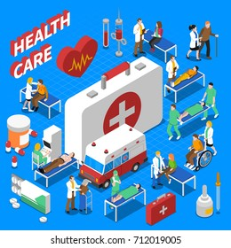 Doctor patient communication with ambulance medical kit and stretcher health care isometric composition poster abstract  illustration