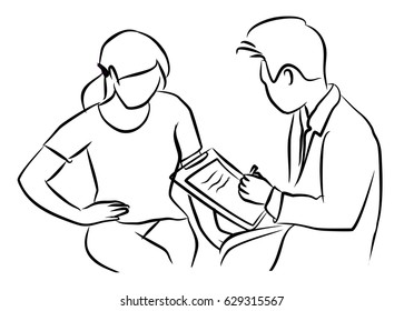 Doctor and Patient woman with stomach ache