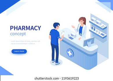 Doctor pharmacist and patient in drugstore. Can use for web banner, infographics, hero images. Flat isometric illustration isolated on white background.