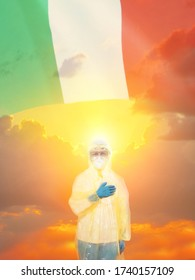 Doctor in PPE suit uniform against coronavirus and national flag. Italy.The concept of national holidays. 3D illustration