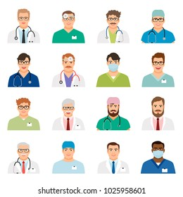 Doctor profile heads illustration. Medicine physician men face portrait icons isolated on white background