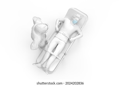 Doctor in protective suit and sick patient on a gurney. 3D illustration