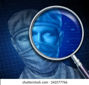 Doctor review and searching online for a medical specialist health care concept as a magnifying glass focusing on a hospital professional with digital code as a symbol of physician data.