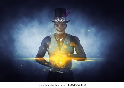 Doctor shadow or Shadow man based on voodoo new orleans,3d illustration