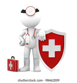 Doctor with shield. Medical protection concept. Isolated
