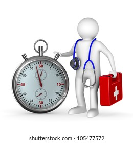 doctor with stethoscope and stopwatch on white background. Isolated 3D image