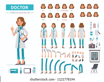 Doctor woman character constructor for animation. Front, side and back view. Flat  cartoon style illustration isolated on white background.