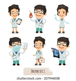 Doctors Cartoon Characters Set1.1. Isolated on White Background. Clipping paths included.