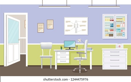 Doctor's consultation room interior in clinic. Hospital working in healthcare concept. Empty medical office design.