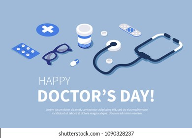 Doctor's Day greeting banner. Flat isometric  illustration.