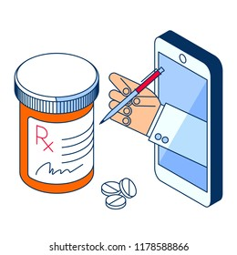 Doctor's hand holding pill bottle. Through the phone screen giving drugs, cure to patient. Isometric 3d flat line concept illustration. Element for online, tele medicine design, infographic.
