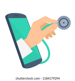 Doctor's hand holding a stethoscope from the phone screen checking pulse. Tele, online, remote medicine flat concept illustration. Telemedicine design infographic element isolated on white background.