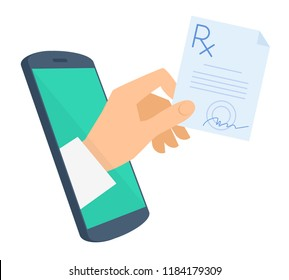 Doctor's hand holds rx from the phone screen gives the prescription to patient. Tele, online medicine flat concept illustration. Telemedicine design infographic element isolated on white background.