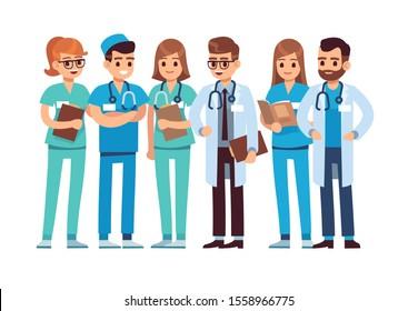 Doctors set. Medical staff team doctor nurse therapist surgeon professional hospital workers group medic, medicine cartoon characters
