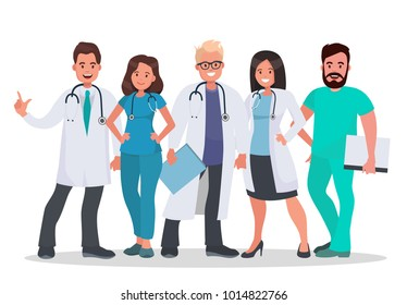 Doctors set. Team of medical workers on a white background. Hospital staff. Medical concept illustration. Illustration in flat style.