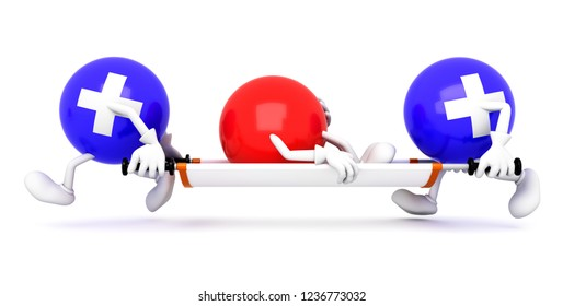 Doctors with a stretcher.3d illustration