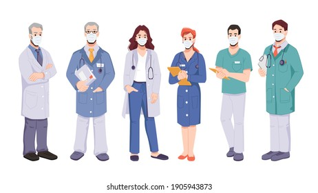 Doctors or surgeons team wearing uniform and protective masks. Coronavirus pandemic situation and fight against covid disease. General practitioners with documents. Cartoon character, in flat