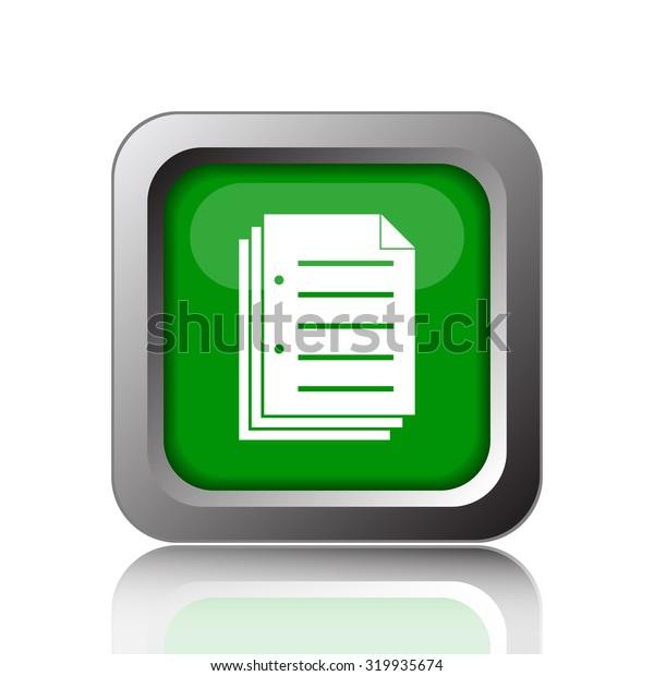 Document icon. Internet button on white background.