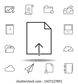 document import upload outline icon. Detailed set of unigrid multimedia illustrations icons. Can be used for web, logo, mobile app, UI, UX
