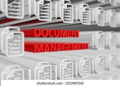 DOCUMENT MANAGEMENT concept blurred background 3d render illustration