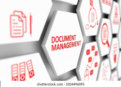 Document management concept cell blurred background 3d illustration